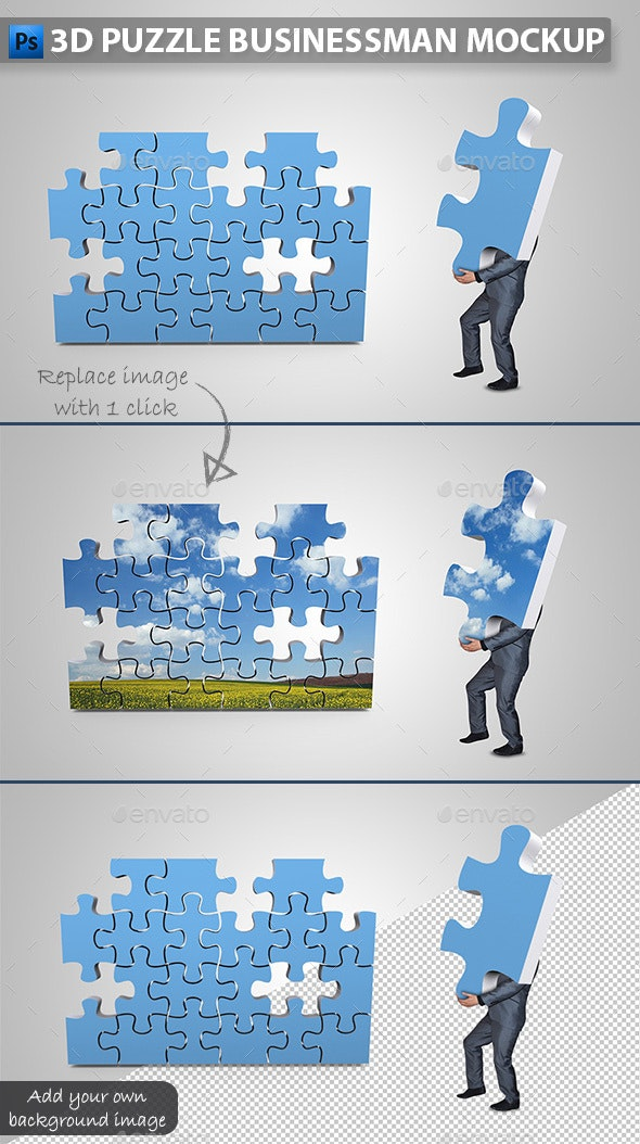 Businessman Assembling 3D Puzzle Mockup - Miscellaneous Photo Templates