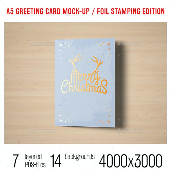 A5 Greeting Card Mock-up / Foil Stamping Edition