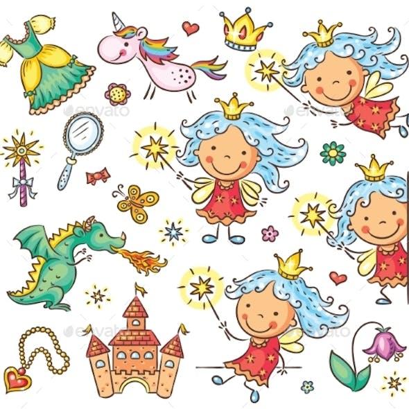 Little Fairy Set With a Castle, Unicorn, Dragon