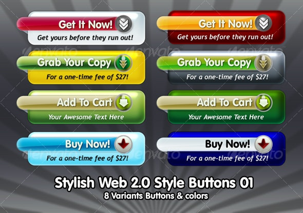 Stylish Web 2.0 Style Buttons 01 - Buttons Web Elements