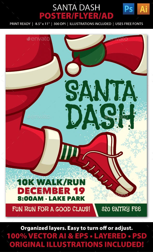 SANTA DASH CHRISTMAS WALK / RUN Event Poster, Flye - Holidays Events