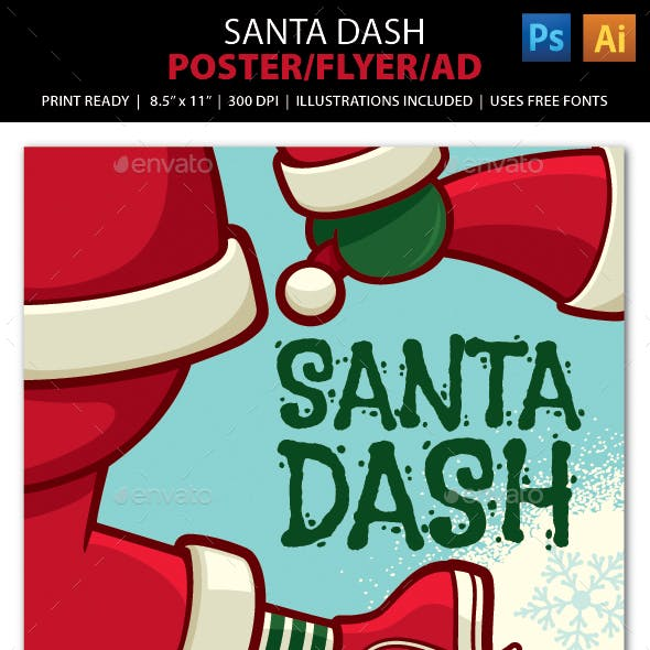 SANTA DASH CHRISTMAS WALK / RUN Event Poster, Flye