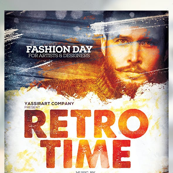 Retro Time Flyer Template