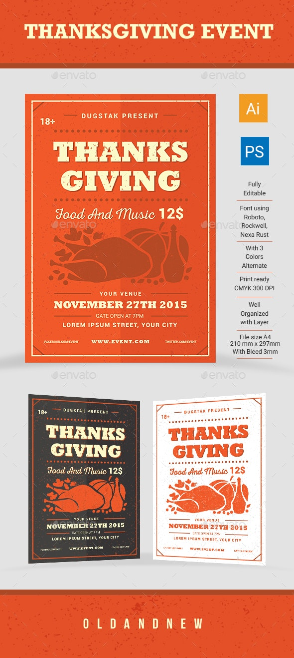 Thanksgiving Event - Flyers Print Templates