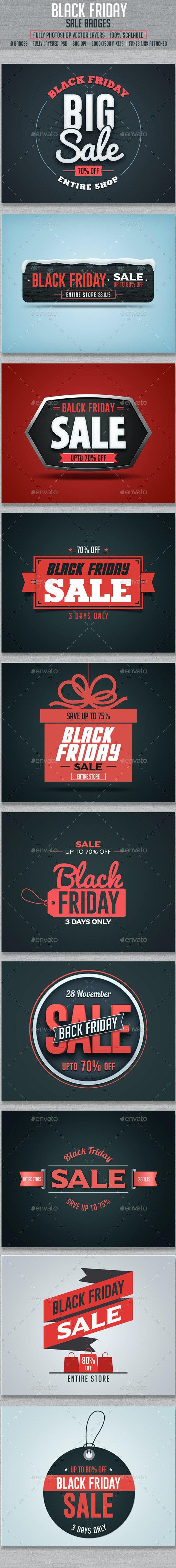 Black Friday Sale Badges - Badges & Stickers Web Elements