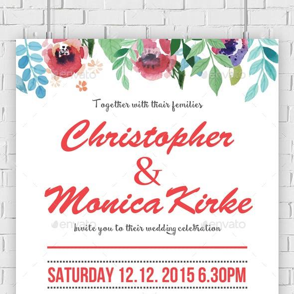 Watercolor Flower Wedding Invitation Psd