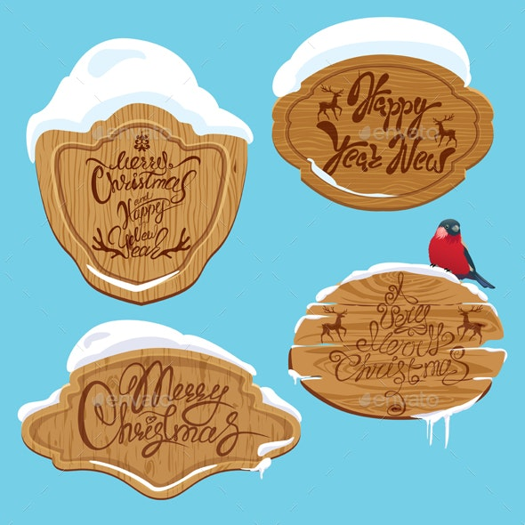 Set of Xmas Wooden Frames with Snow  - Christmas Seasons/Holidays