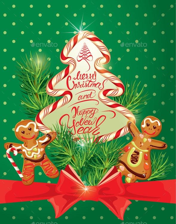 Holiday Greeting Card with Xmas Gingerbread - Christmas Seasons/Holidays