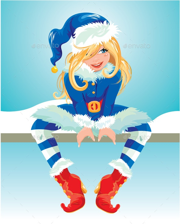 Blond Girl Wearing Blue Santa Claus Costume - Christmas Seasons/Holidays