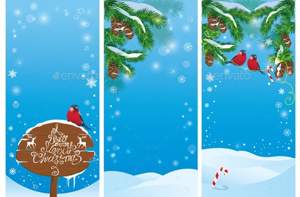 Set of Vertical Banners for Christmas and New Year - Christmas Seasons/Holidays