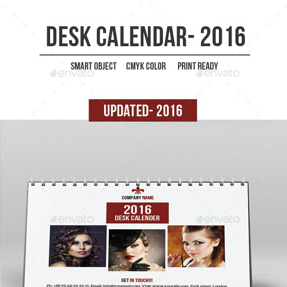Desk Calender For 2016