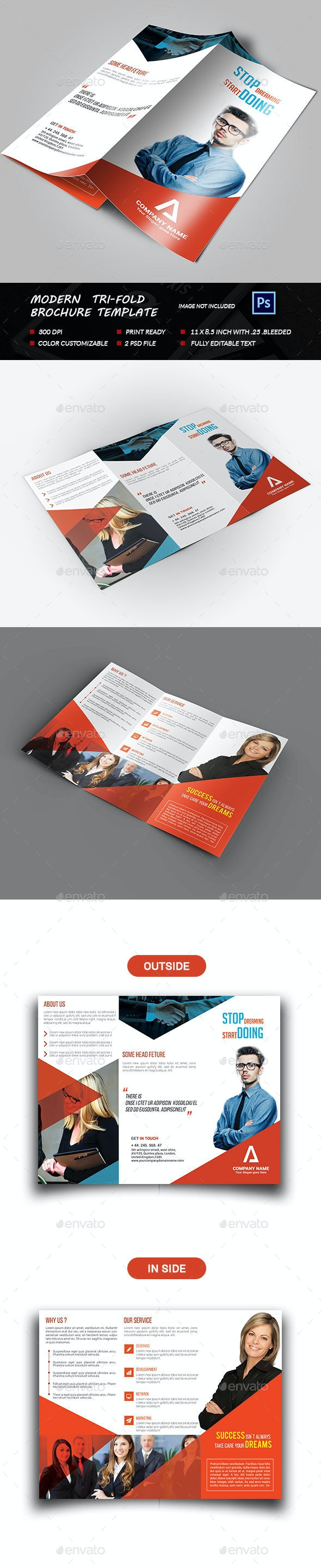 Modern Tri-fold Brochure - Brochures Print Templates