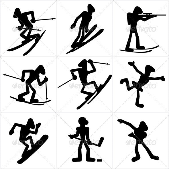 Winter Sports - Characters Vectors