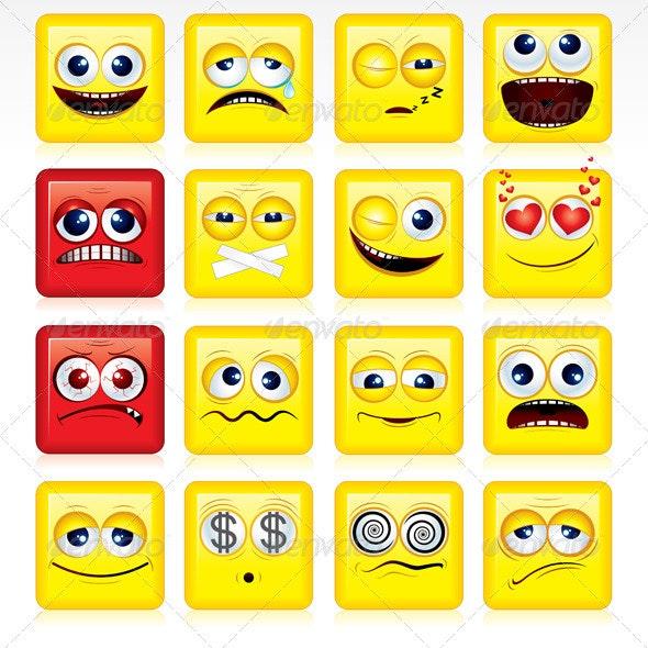 Square Smileys Vector - Characters Vectors