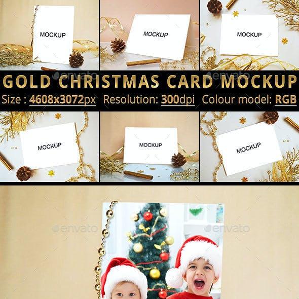 Gold Christmas Card Mockup