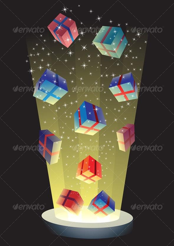 flying gift boxes - Christmas Seasons/Holidays