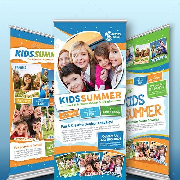Kids Summer Camp Roll Up Banner