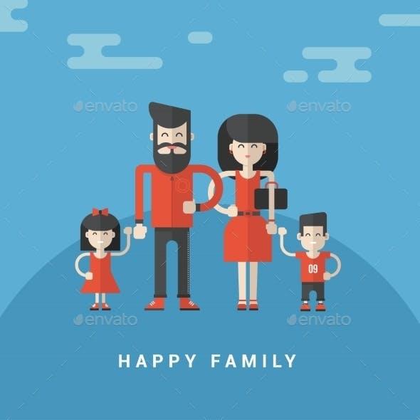 Flat Style Vector Illustration. Happy Family