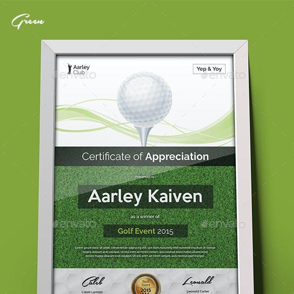 Golf Certificate