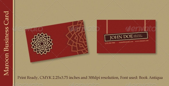 Maroon Business Card - Creative Business Cards