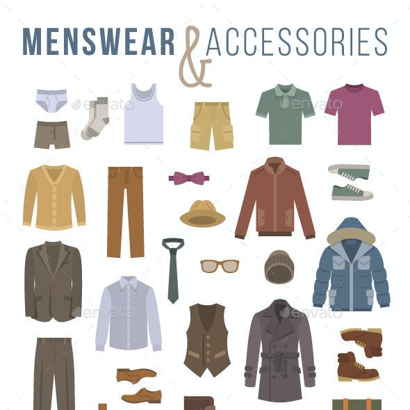 Men Clothes and Accessories Flat Vector Icons