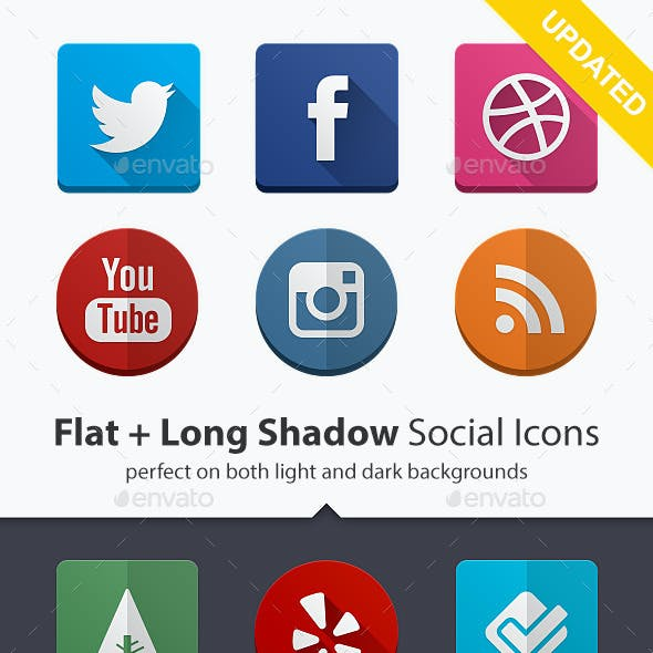 160 Social Icons Flat and Long Shadow Bundle