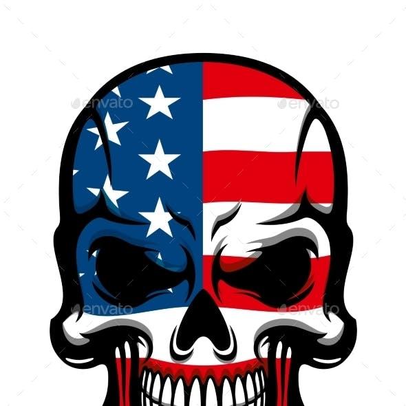Danger Skull With American Flag Pattern