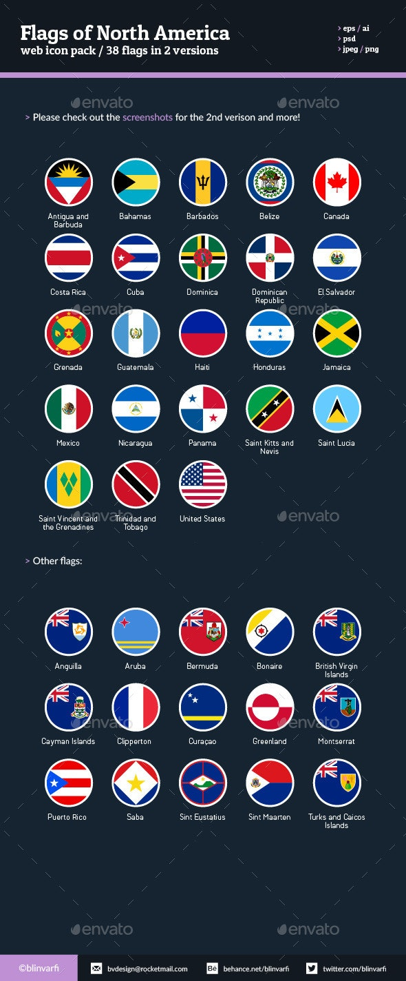Flags of North America - Flag Icons - Web Icons