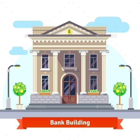 Facade Of a Bank Building With Columns