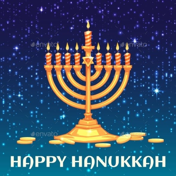 Hanukkah Menorah With Candles And Coins. Vector