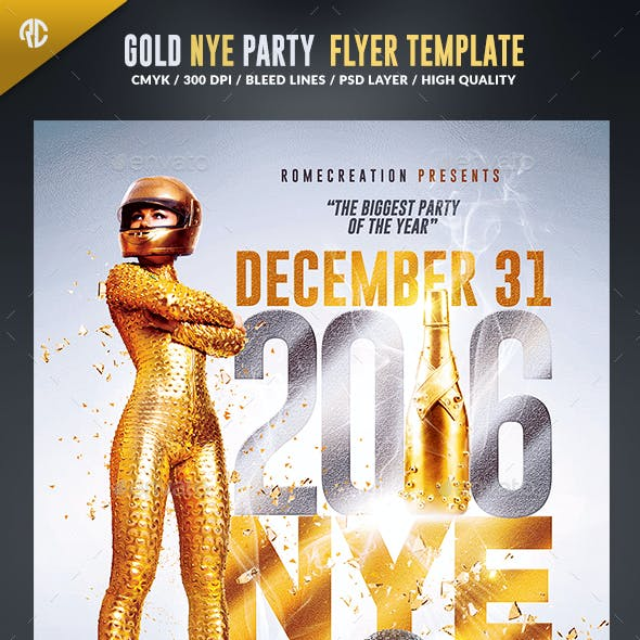 NYE Gold Party 2016 | Psd Flyer Template