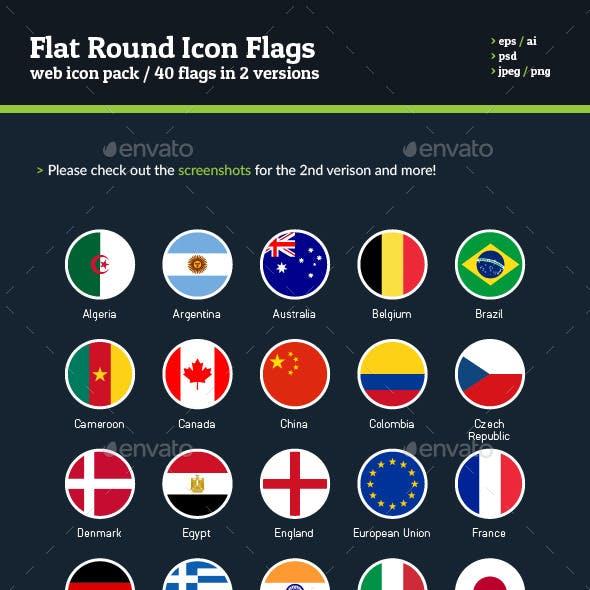Flat Round Icon Flags