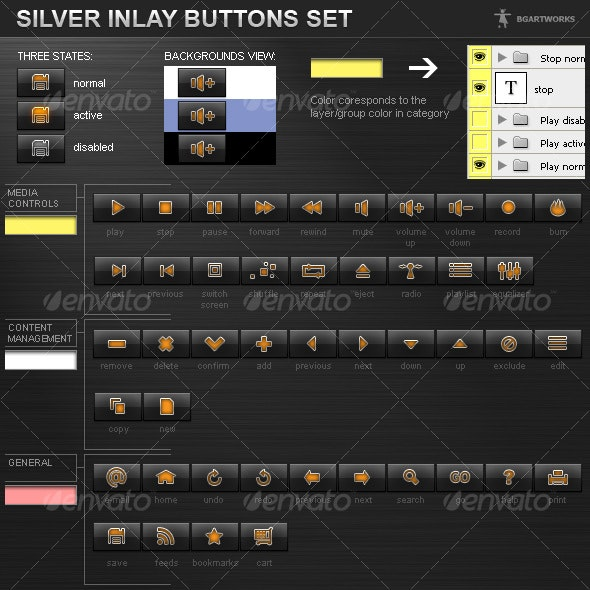 Silver Inlay buttons set - Buttons Web Elements