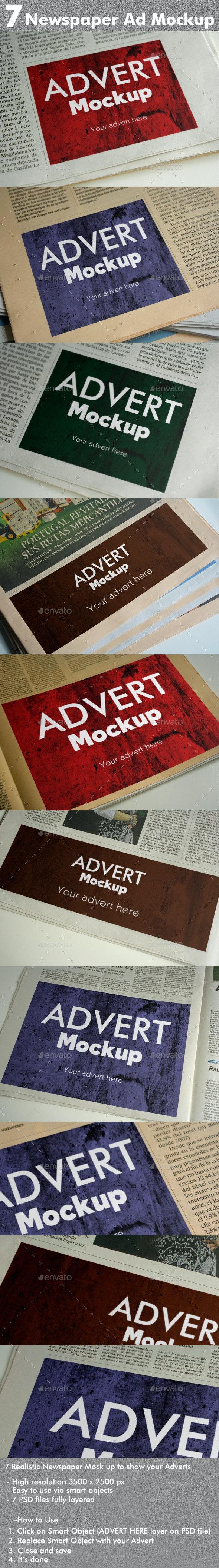 7 Newspaper Ad Mockups - Product Mock-Ups Graphics