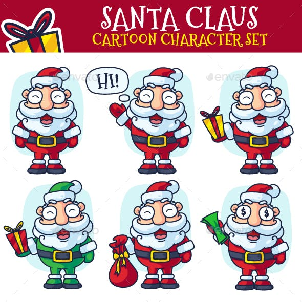 Santa Claus Cartoon Character Set