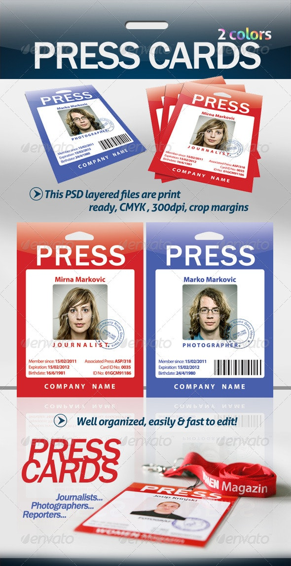 Press Cards / Pass - Miscellaneous Print Templates