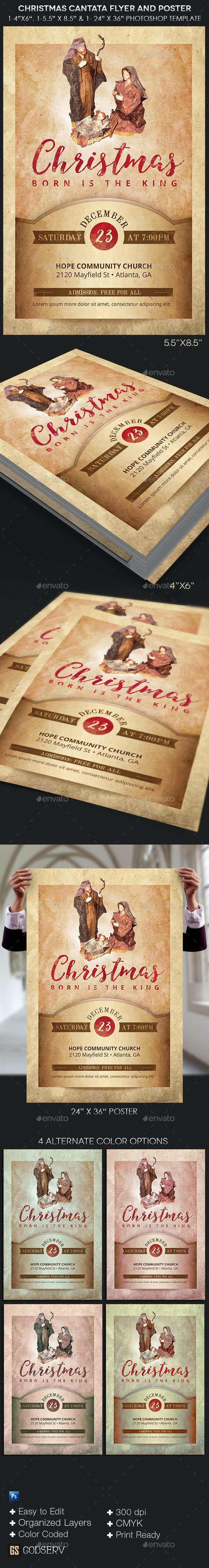 Christmas Cantata Flyer Poster Template - Church Flyers