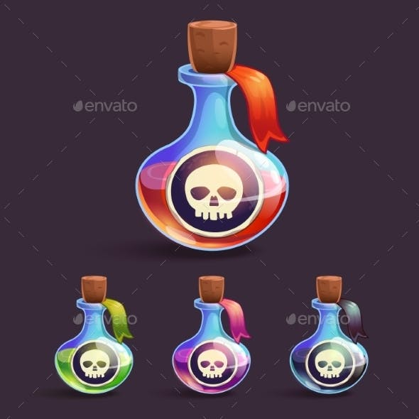 Cartoon Bottles with Poison