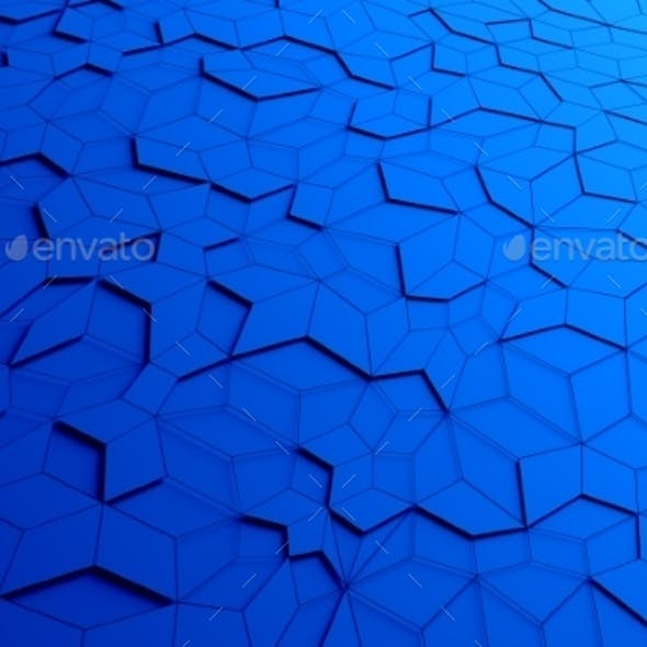Abstract 3D Rendering Of Blue Futuristic Surface.
