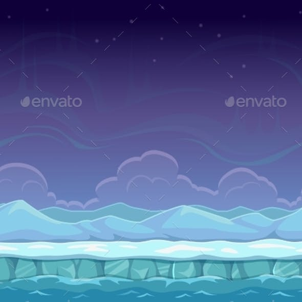 Seamless Cartoon Arctic Landscape