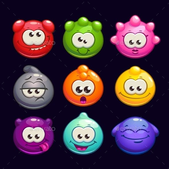 Cartoon Jelly Round Characters Set