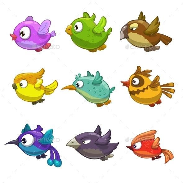 Set of Cartoon Birds - Backgrounds Decorative