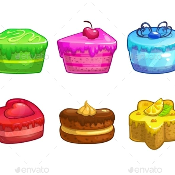 Set of Colorful Sweet Cakes