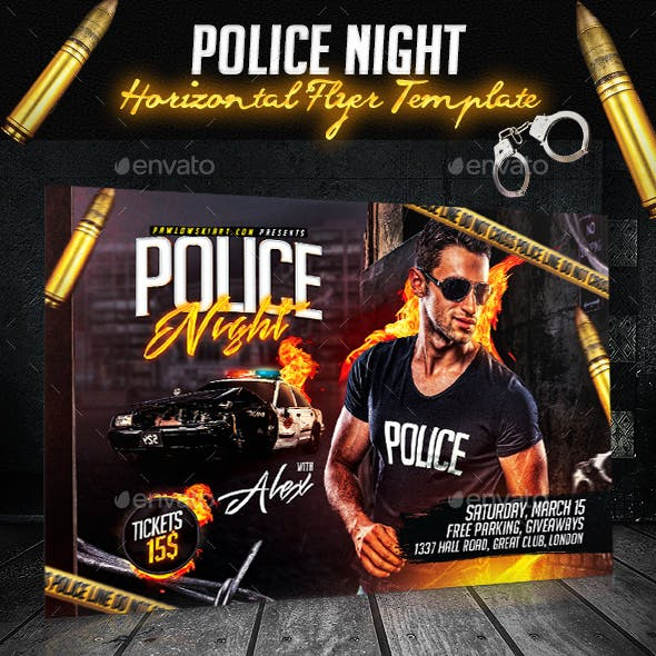 Police Night Party Horizontal Flyer Template