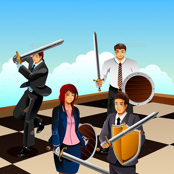 Business People Fighting as Knight