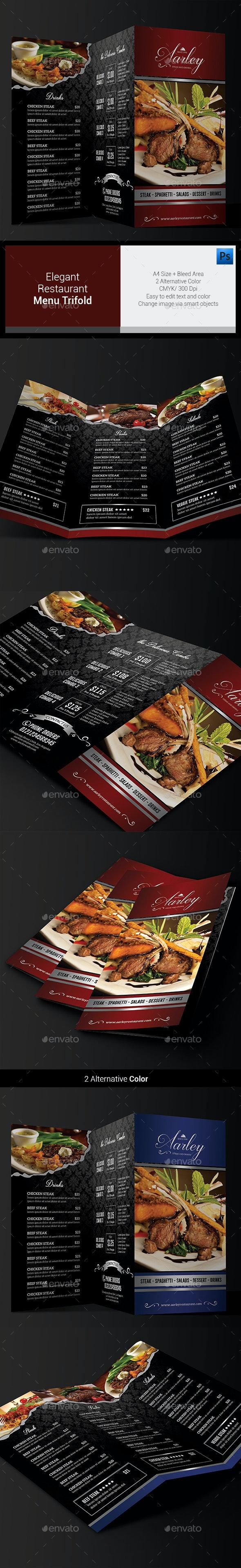 Elegant Restaurant Menu Trifold - Food Menus Print Templates