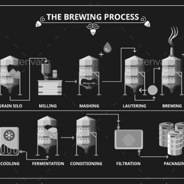 Beer Brewing Process. Vector Beer Production