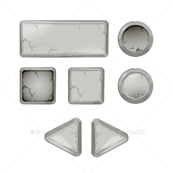 Cartoon Stone Buttons Vector Set