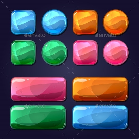 Vector Cartoon Glass Buttons For Game User