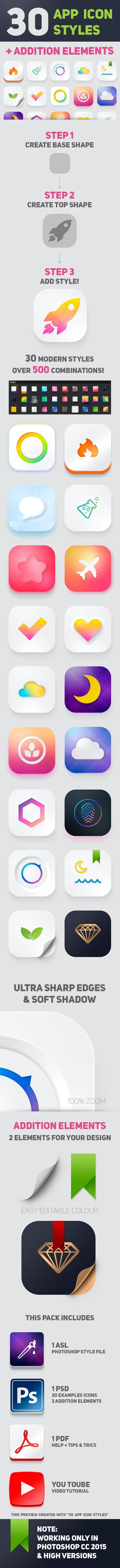 30 App Icon Styles - Styles Photoshop